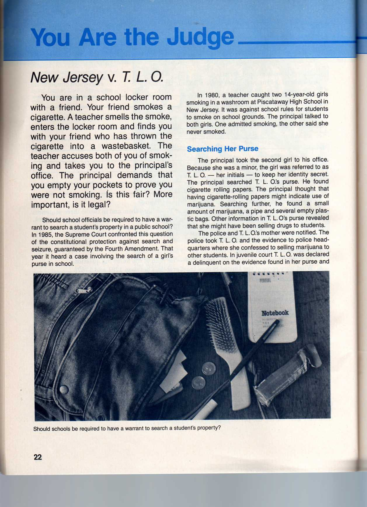 new jersey vs tlo New jersey vs tlo by daylen woods this case is about a teacher who catches a 14 year old female named tracy lois odem (tlo) smoking a cigarette in the restroom.